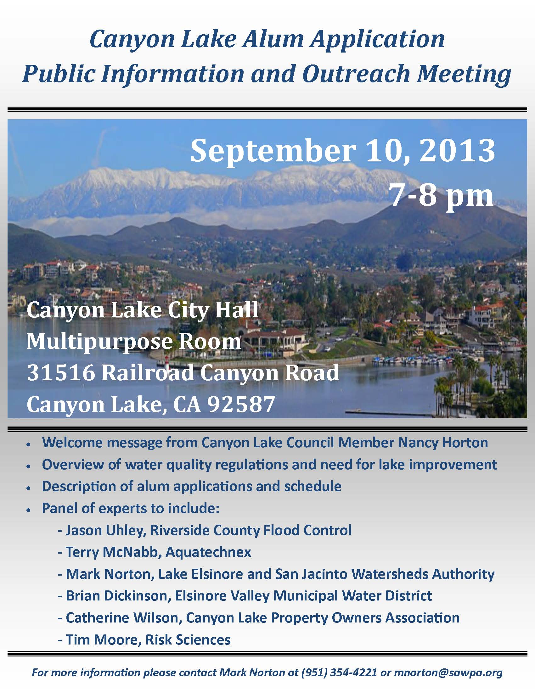 Canyon Lake Alum Application Community Meeting Flyer